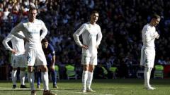 Indosport - Wajah kecewa para pemain Real Madrid.
