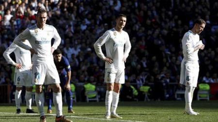 Wajah kecewa para pemain Real Madrid. - INDOSPORT