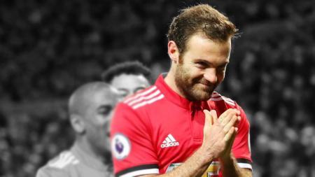 Aksi selebrasi Juan Mata setelah membobol gawang Leicester City. - INDOSPORT