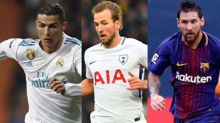 Kiri-kanan: Cristiano Ronaldo, Harry Kane, dan Lionel Messi - INDOSPORT