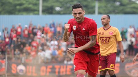 Selebrasi marquee player Persija Jakarta, Jaimerson da Silva Xavier usai mencetak gol pertama ke gawang Persika. - INDOSPORT