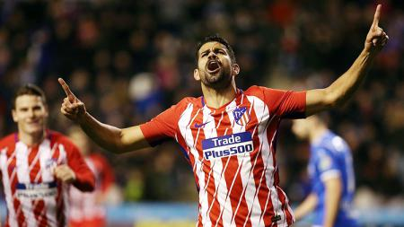 Selebrasi Diego Costa usai cetak gol debut bersama Atletico Madrid - INDOSPORT