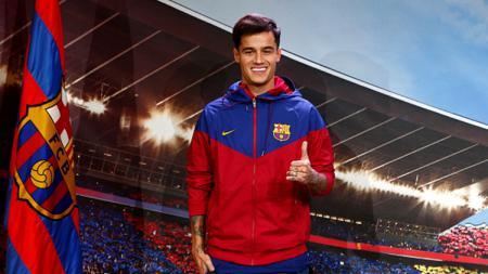 Philippe Coutinho saat diperkenalkan secara resmi oleh Barcelona kepada awiak media. - INDOSPORT