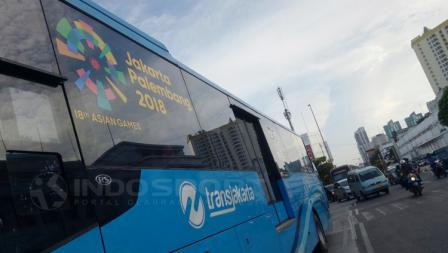 Logo Asian Games 2018 di Transjakarta.