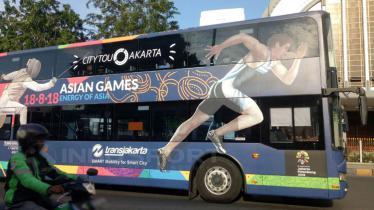 Logo cabang olahraga di bus TransJakarta. - INDOSPORT