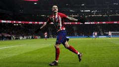 Indosport - Selebrasi Vitolo usai cetak gol untuk Atletico Madrid di pertandingan LaLiga Spanyol 2019/20, Senin (26/08/19) dini hari WIB.