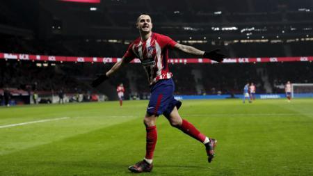Selebrasi Vitolo usai cetak gol untuk Atletico Madrid di pertandingan LaLiga Spanyol 2019/20, Senin (26/08/19) dini hari WIB. - INDOSPORT