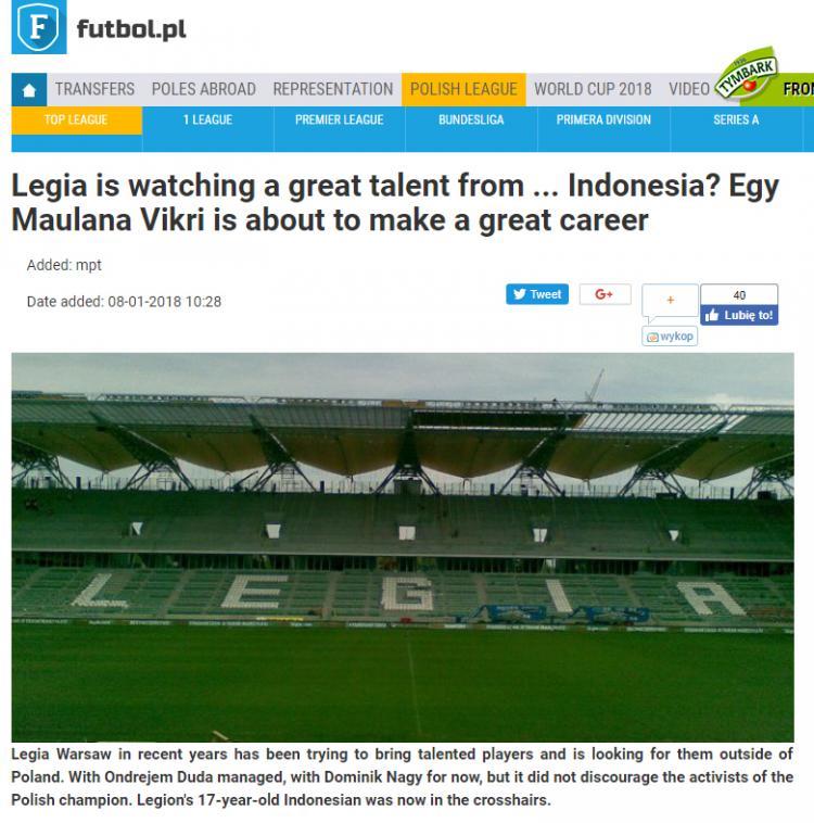 Media Polandia beritakan Legia Warsawa pantau Egy Maulana. Copyright: Futbol.pl