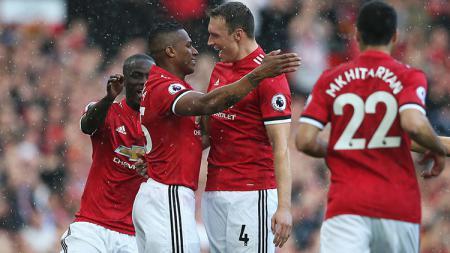 Selebrasi para pemain Man United. - INDOSPORT