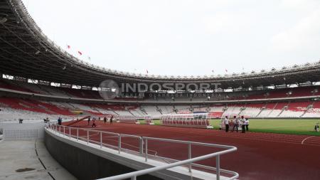 Situasi dalam stadion Gelora Bung Karno yang akan digunakan laga persahabatan antara Timnas Indonesia vs Islandia pada Minggu (14/01/18) mendatang. - INDOSPORT