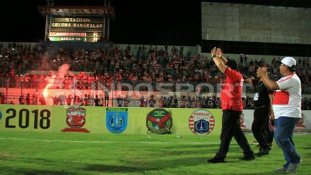 Presiden Madura United (MU) Achsanul Qosasi memberi respons tak terduga usai ditanya kapan Laskar Sape Kerrab juara Liga 1. - INDOSPORT