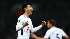 Indosport - Heung-Min Son melakukan selebrasi usai mencetak gol.