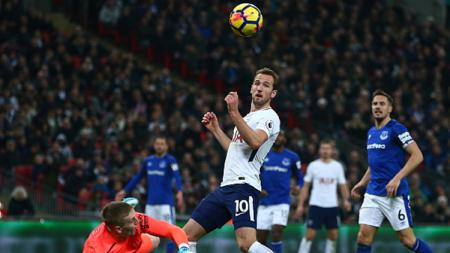 Harry Kane saat berada di depan kotak pinalti Everton - INDOSPORT