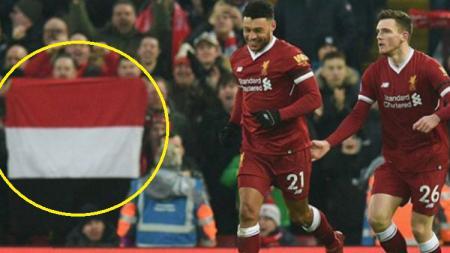 Penampakan diduga bendera Indonesia di laga Liverpool vs Man City, Minggu (14/1/18) di Anfield. - INDOSPORT
