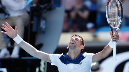 Novak Djokovic selebrasi di ajang Australia Terbuka 2018. - INDOSPORT