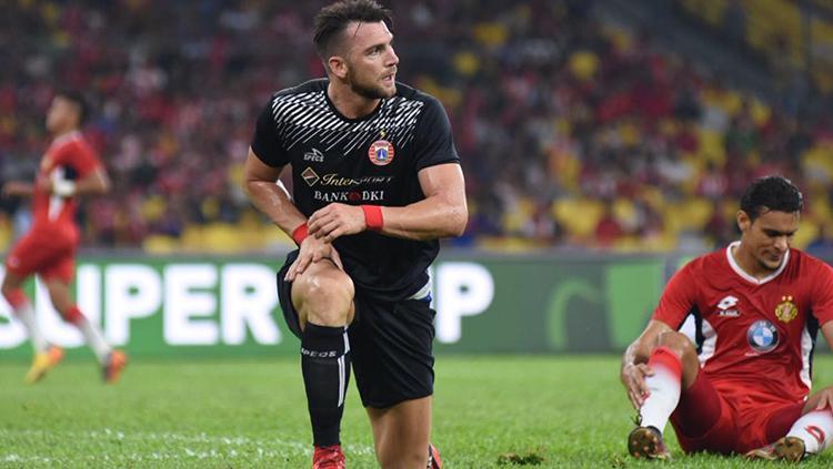 Marko Simic saat tampil membela Persija kontra Kelantan FA. Copyright: PERSIJA