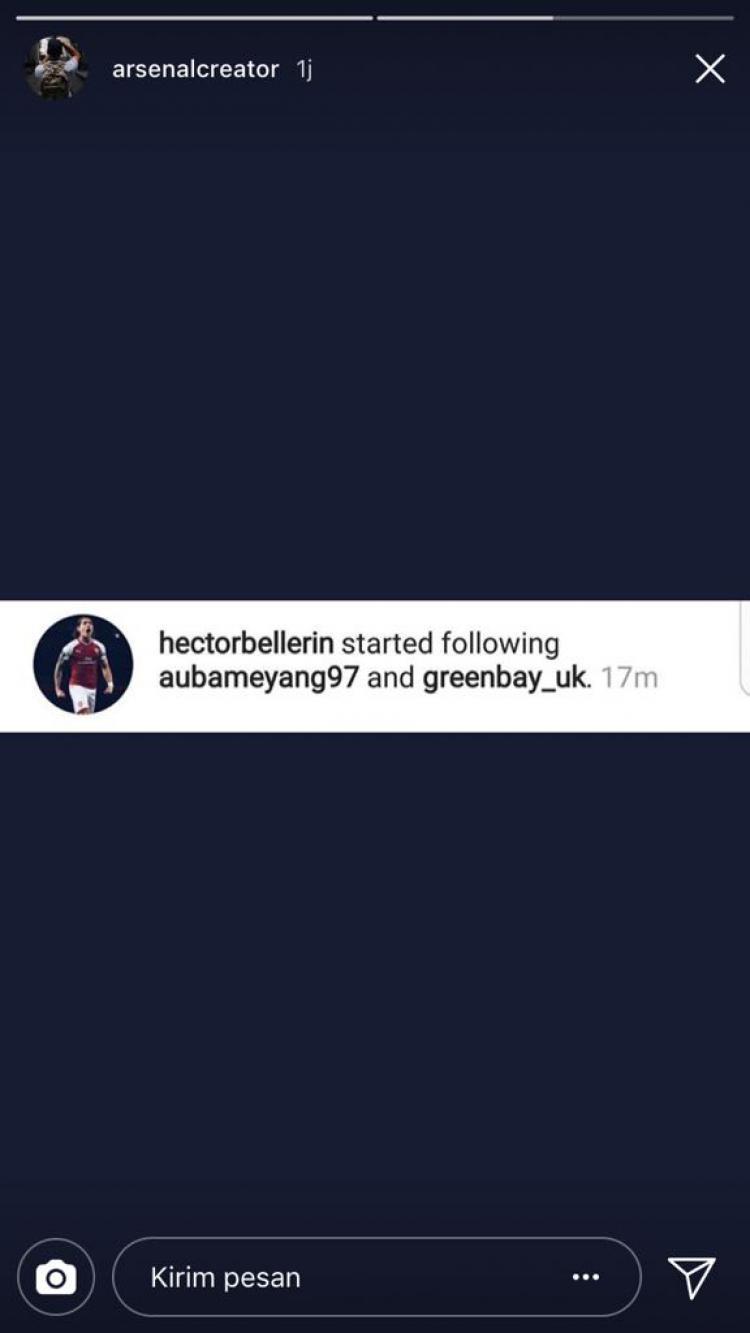 Hector Bellerin Memfollow instagram Aubameyang Copyright: instagram
