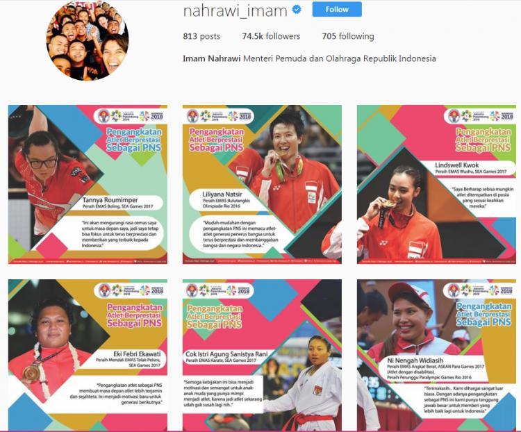 Menpora, Imam Nahrawi mengangkat sejumlah atlet Indonesia yang berprestasi. Copyright: Instagram