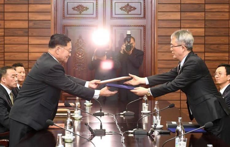 Delegasi Korea Utara dan Selatan. Copyright: -