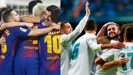 Aksi selebrasi para pemain Barcelona dan Real Madrid di Pekan ke-20 La Liga Spanyol. - INDOSPORT