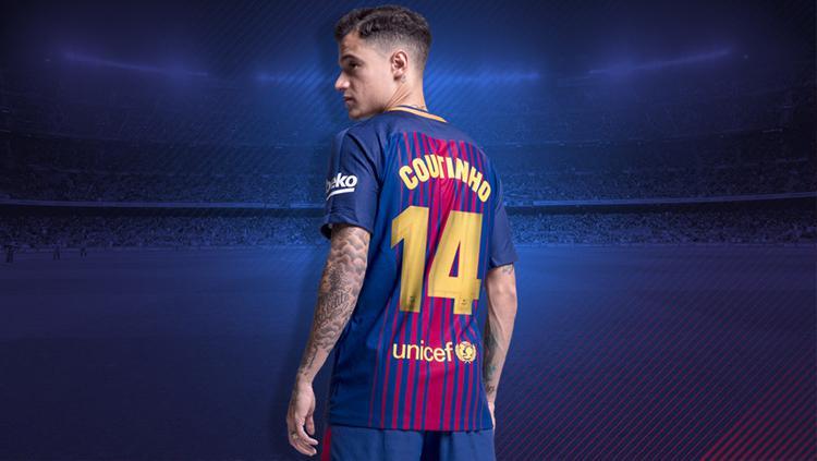 Philipe Coutinho menyandang nomor punggung 14. Copyright: Barcelona