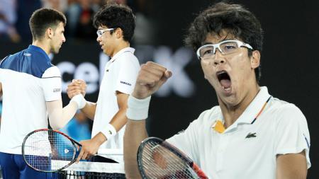 Petenis Muda Korsel, Chung Hyeon berhasil kalahkan Djokovic dan cetak sejarah di Australia Open. - INDOSPORT