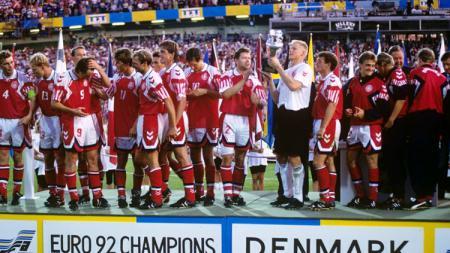 Timnas Denmark saat juara Piala Euro tahun 1992. - INDOSPORT