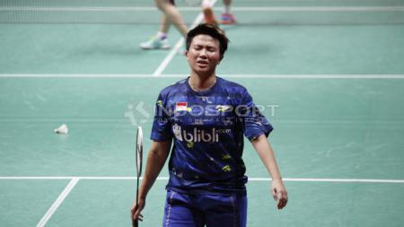 Liliyana Natsir tertunduk lesu gagal mengamankan gelar juara Indonesia Masters 2018. - INDOSPORT