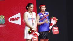 Indosport - Tai Tzu-ying dan Saina Nehwal di ajang Indonesia Masters 2018.