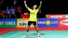 Indosport - Anthony Sinisuka Ginting raih gelar juara Indonesia Masters 2018.