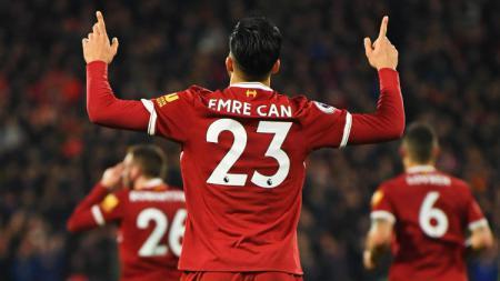 Selebrasi Emre Can ketika merayakan gol untuk Liverpool. - INDOSPORT