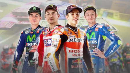 Kiri-kanan: Maverick Vinales, Jorge Lorenzo, Marc Marquez, dan Valentino Rossi. - INDOSPORT