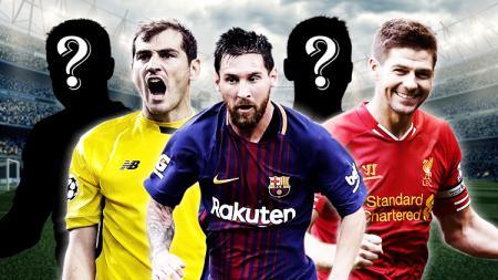 Iker Casillas, Lionel Messi, dan Steven Gerrard. - INDOSPORT