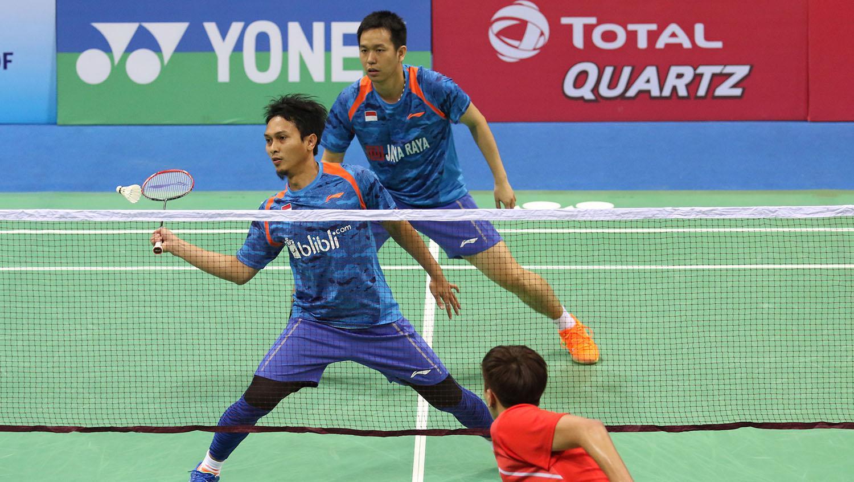 Hendra Setiawan dan Mohammad Ahsan (India Open 2018). Copyright: Humas PBSI