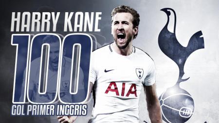 Harry Kane mencetak gol yang ke seratus di Liga Primer Inggris. - INDOSPORT