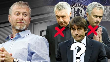 Roman Abramovich, Carlo Ancelotti, Jose Mourinho, dan Antonio Conte. - INDOSPORT