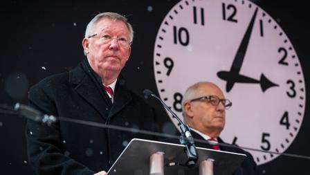 Sir Alex Ferguson memberikan sambutan di acara peringatan Tragedi Munchen 1958.