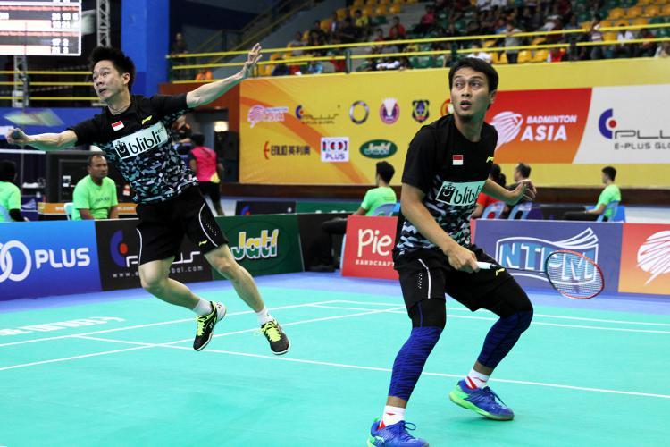 Muhammad Ahsan dan Kevin Sanjaya di laga ganda putra melawan Jepang Copyright: Humas Pelatnas PBSI