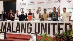 Indosport - Djoko Purwoko saat acara sarasehan Malang United.