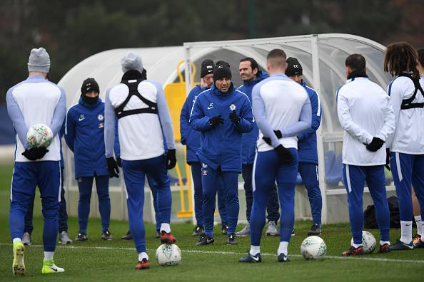 Antonio Conte  dalam sesi latihan bersama Chelsea Copyright: Getty Images