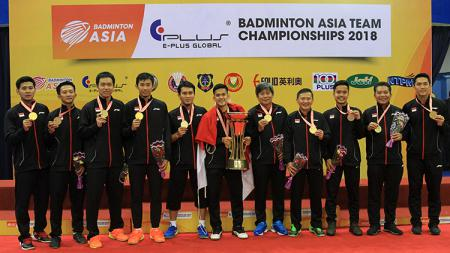 Tim bulutangkis putra Indonesia menjadi pemenang di Kejuaraan Asia 2018. - INDOSPORT