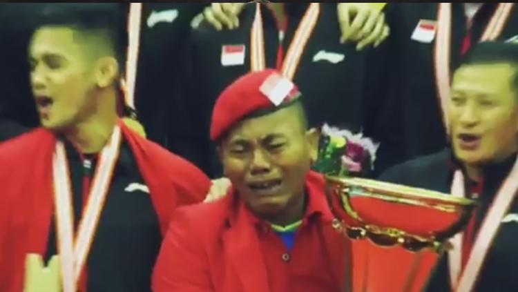 Kakek Haryanto, penggemar berat bulutangkis Indonesia. Copyright: Badmintalk