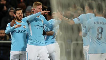Selebrasi pemain Basel vs Manchester City. - INDOSPORT