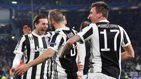 Aksi selebrasi para pemain Juventus pada laga saat melawan Tottenham Hotspur. - INDOSPORT