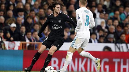 Adrien Rabiot saat melawan Real Madrid di babak 16 besar Liga Champions. - INDOSPORT