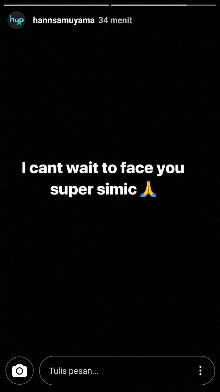 Hansamu Yama melalui snapgram nya mengungkapkan tak sabar untuk berhadapan dengan bomber Persija, Marko Simic. Copyright: Instagram