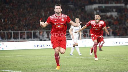 Marko Simic merayakan gol yang dicetaknya ke gawang Bali United di Final Piala Presiden 2018.