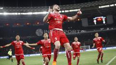 Indosport - Marko Simic merayakan gol yang dicetaknya ke gawang Bali United di Final Piala Presiden 2018.