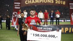 Indosport - Selain Pemain Terbaik, Marko Simic juga menjadi pencetak gol terbanyak Piala Presiden 2018.