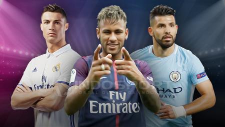 Cristiano Ronaldo, Neymar dan Sergio Aguero - INDOSPORT